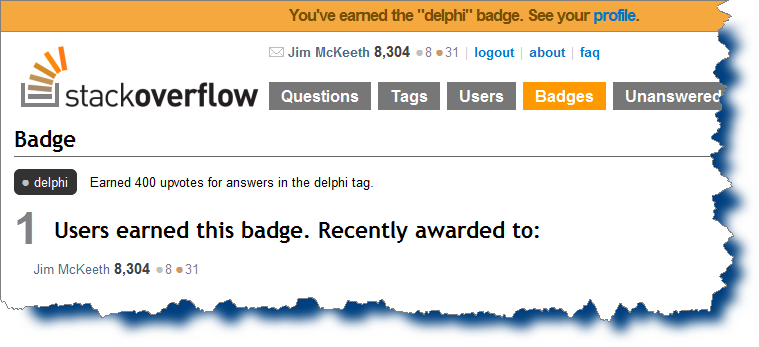 Stack Overflow's Delphi badge